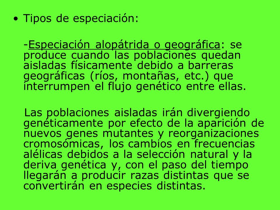 Tipos de especiación: