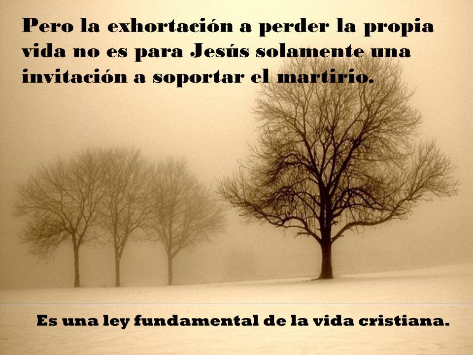Pero la exhortación a perder la propia vida no es para Jesús solamente una invitación a soportar el martirio.