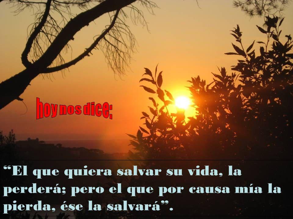 hoy nos dice: El que quiera salvar su vida, la perderá; pero el que por causa mía la pierda, ése la salvará .