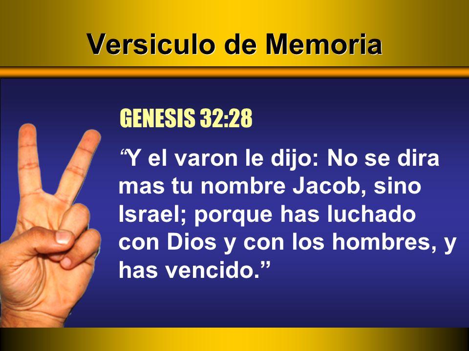 Versiculo de Memoria GENESIS 32:28