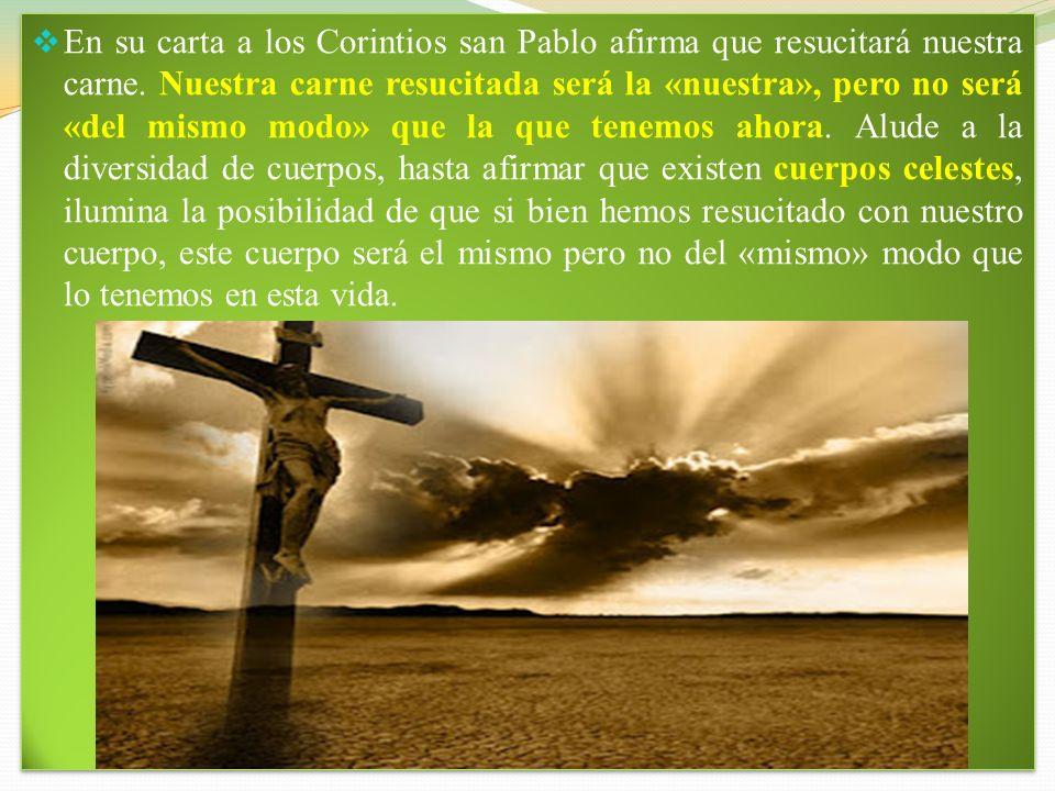 En su carta a los Corintios san Pablo afirma que resucitará nuestra carne.