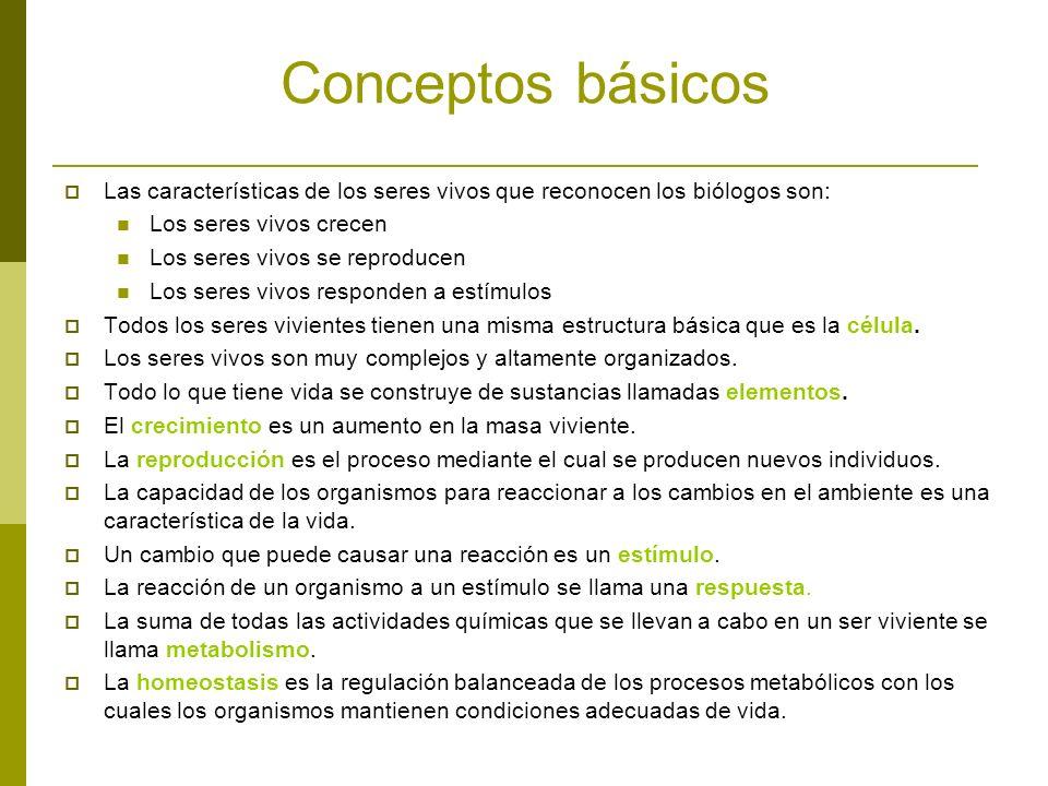 Conceptos básicos Las características de los seres vivos que reconocen los biólogos son: Los seres vivos crecen.