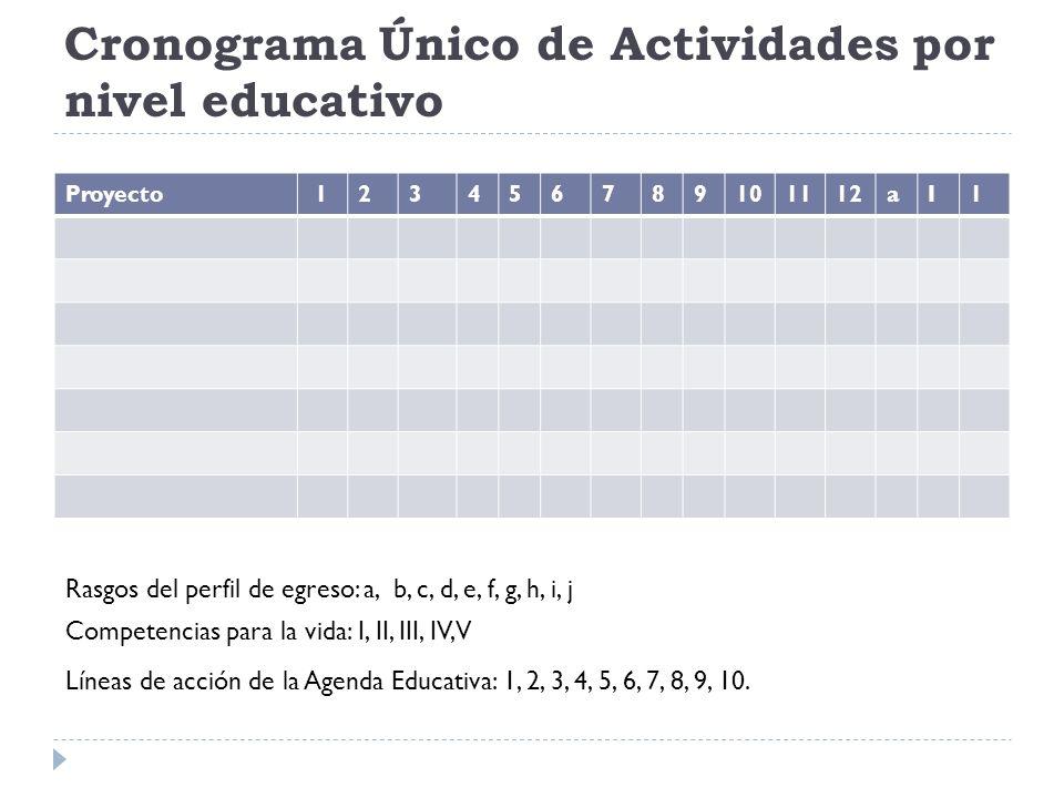 Cronograma Único de Actividades por nivel educativo