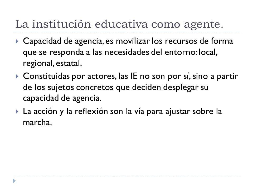 La institución educativa como agente.