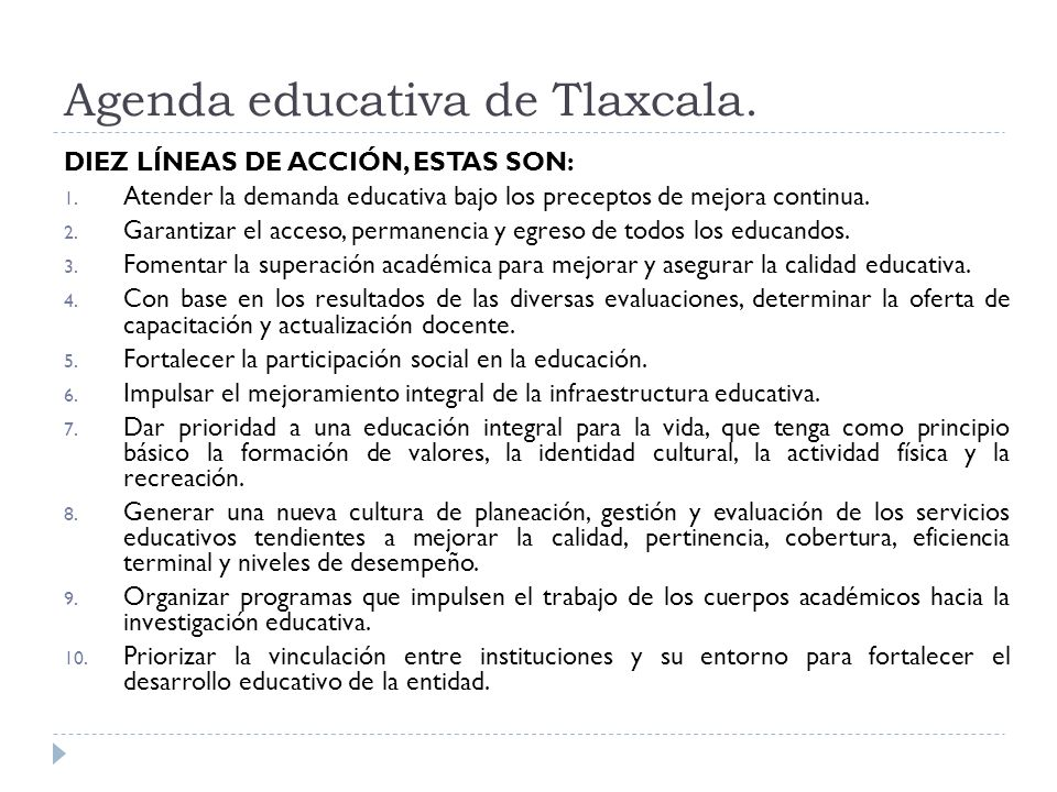 Agenda educativa de Tlaxcala.