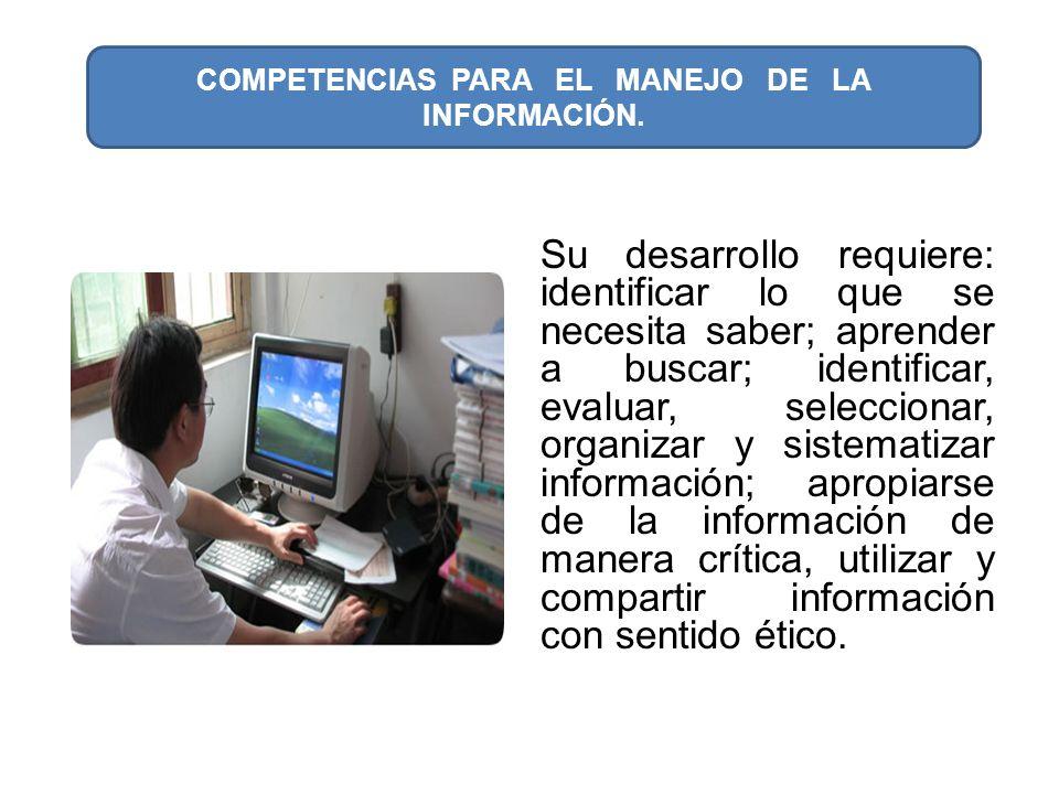 COMPETENCIAS PARA EL MANEJO DE LA INFORMACIÓN.