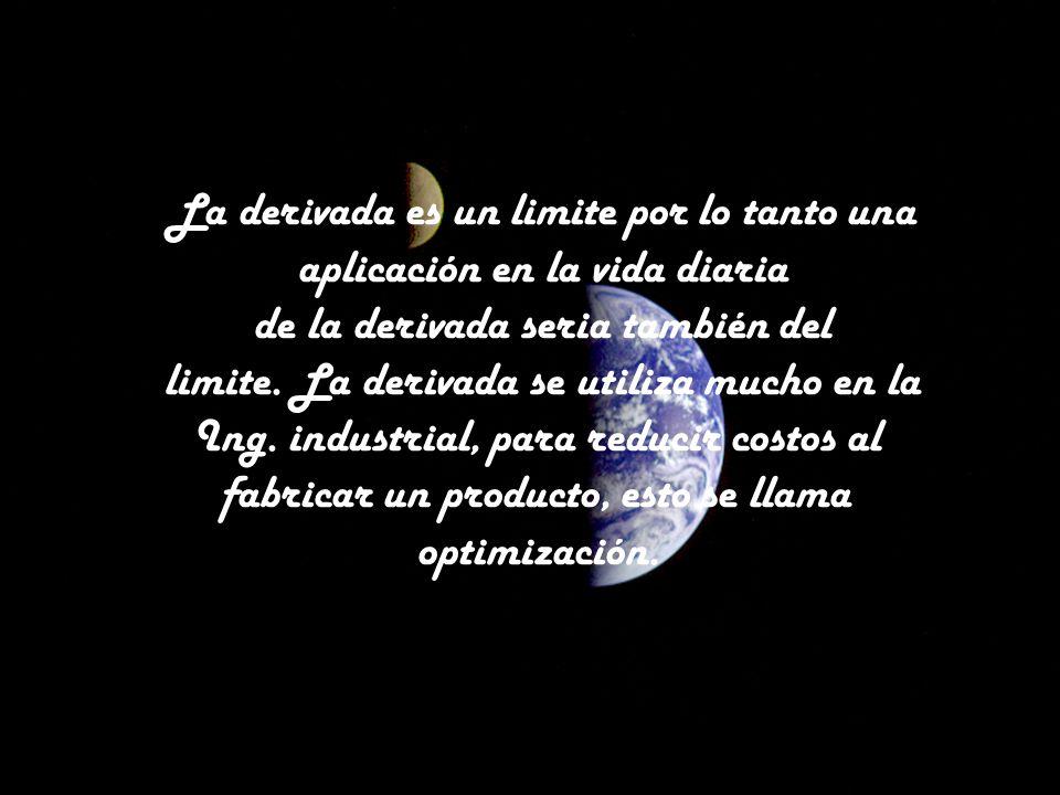 La derivada es un limite por lo tanto una aplicación en la vida diaria