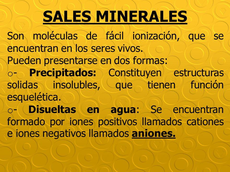 SALES MINERALES Son moléculas de fácil ionización, que se encuentran en los seres vivos. Pueden presentarse en dos formas: