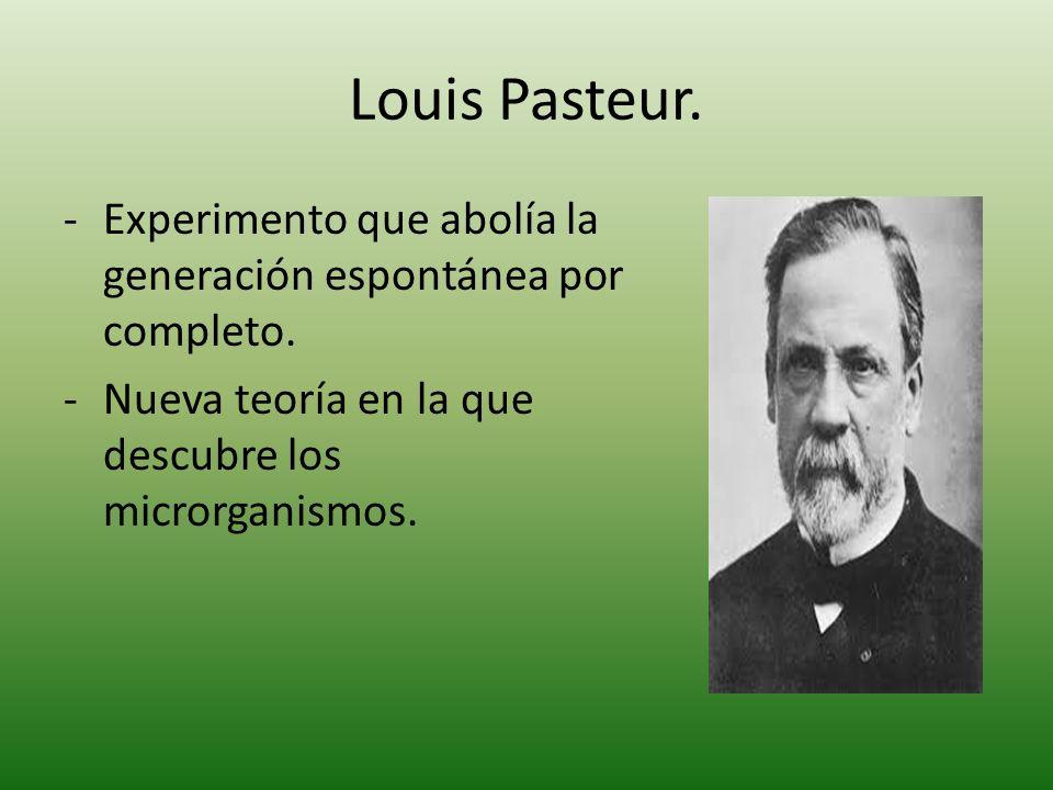 Louis Pasteur. Experimento que abolía la generación espontánea por completo.