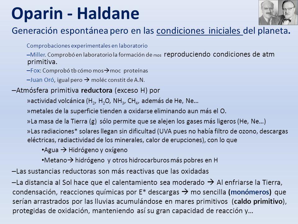 Oparin - Haldane Generación espontánea pero en las condiciones iniciales del planeta. Comprobaciones experimentales en laboratorio.