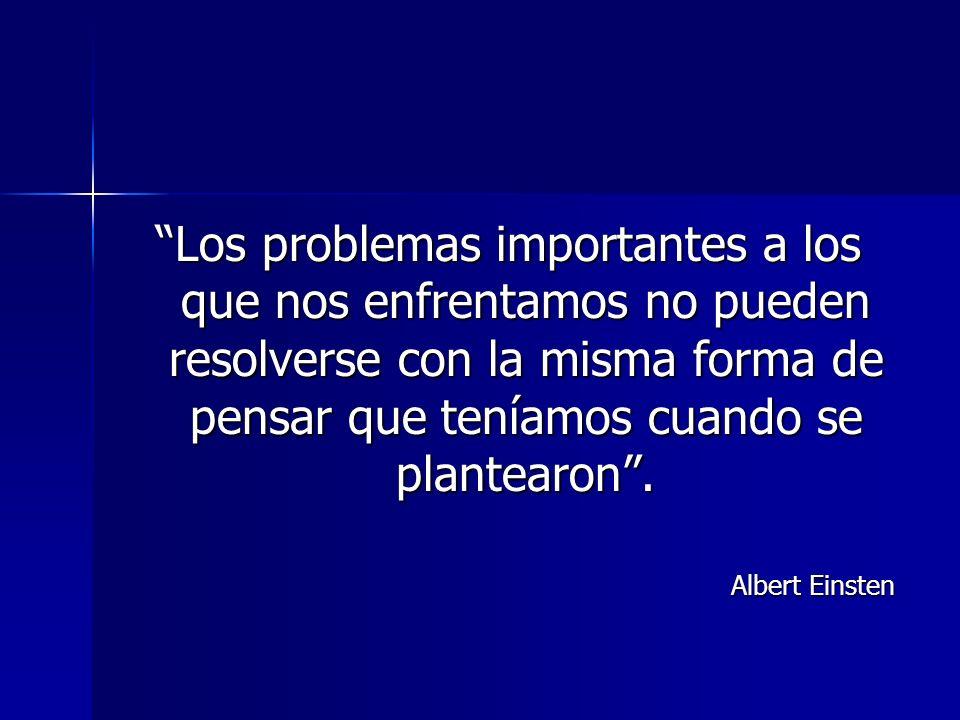 Los problemas importantes a los que nos enfrentamos no pueden resolverse con la misma forma de pensar que teníamos cuando se plantearon .