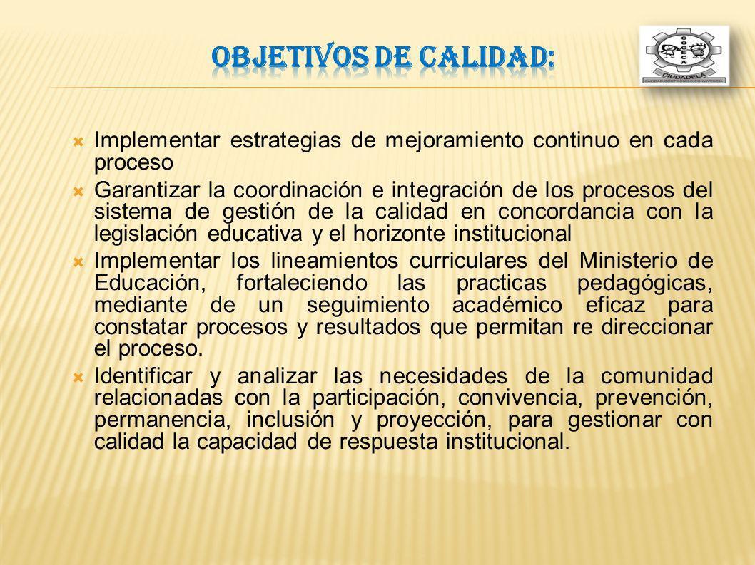 Objetivos de calidad: Implementar estrategias de mejoramiento continuo en cada proceso.