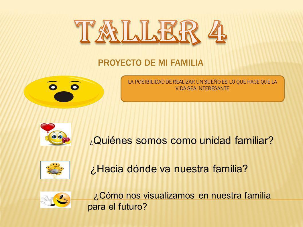 TALLER 4 ¿Hacia dónde va nuestra familia PROYECTO DE MI FAMILIA