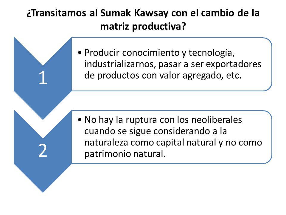¿Transitamos al Sumak Kawsay con el cambio de la matriz productiva