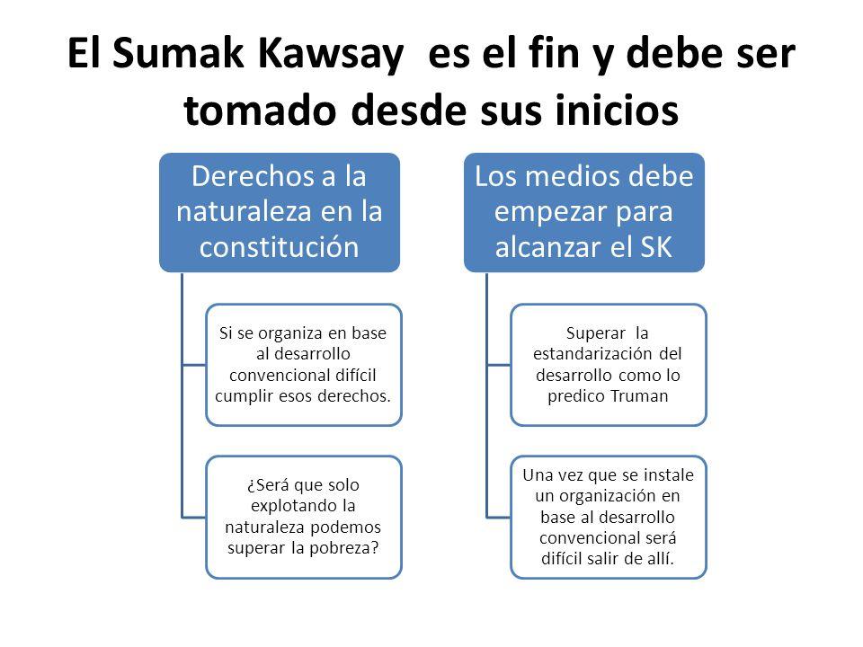 El Sumak Kawsay es el fin y debe ser tomado desde sus inicios