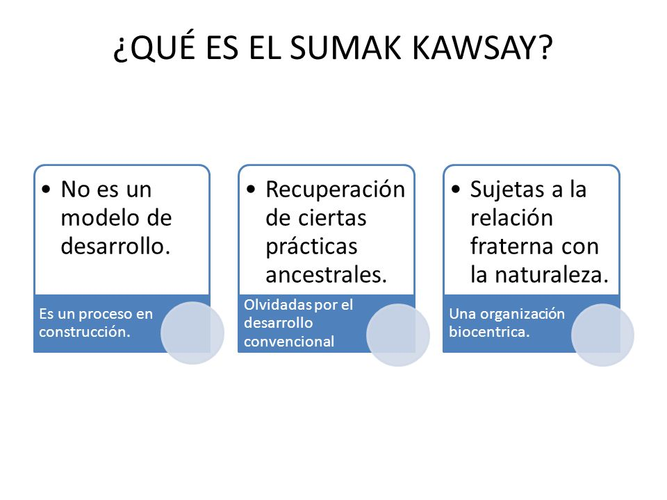 ¿QUÉ ES EL SUMAK KAWSAY No es un modelo de desarrollo.