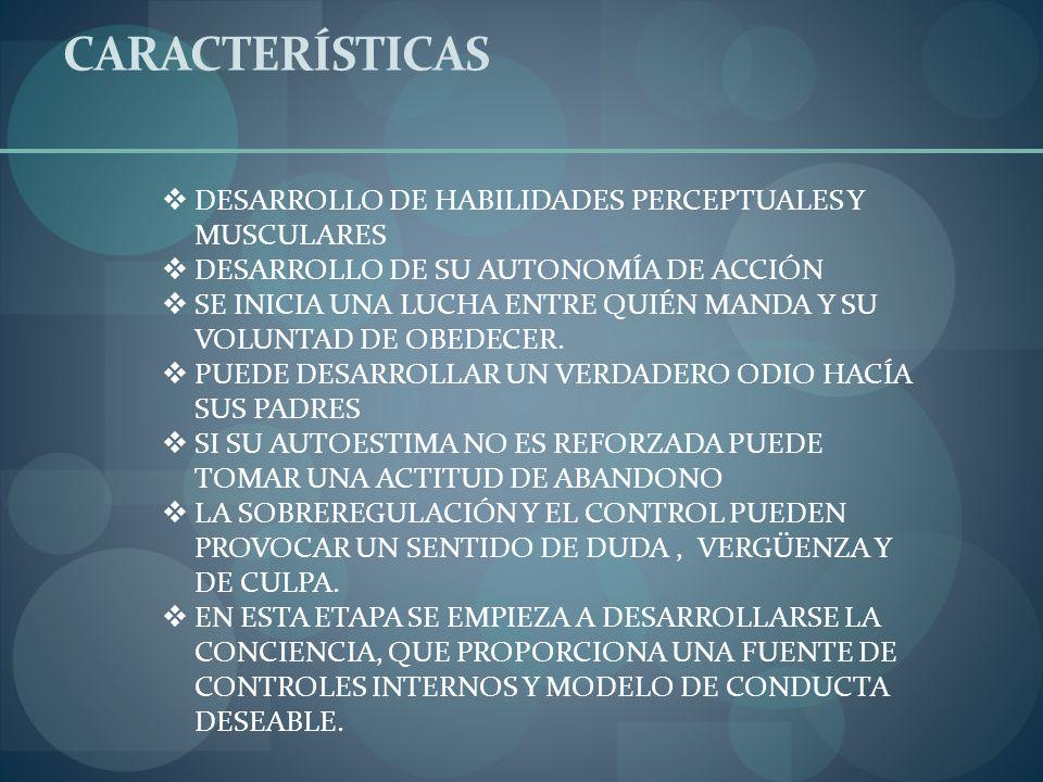 CARACTERÍSTICAS DESARROLLO DE HABILIDADES PERCEPTUALES Y MUSCULARES