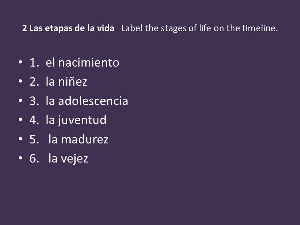 2 Las etapas de la vida Label the stages of life on the timeline.