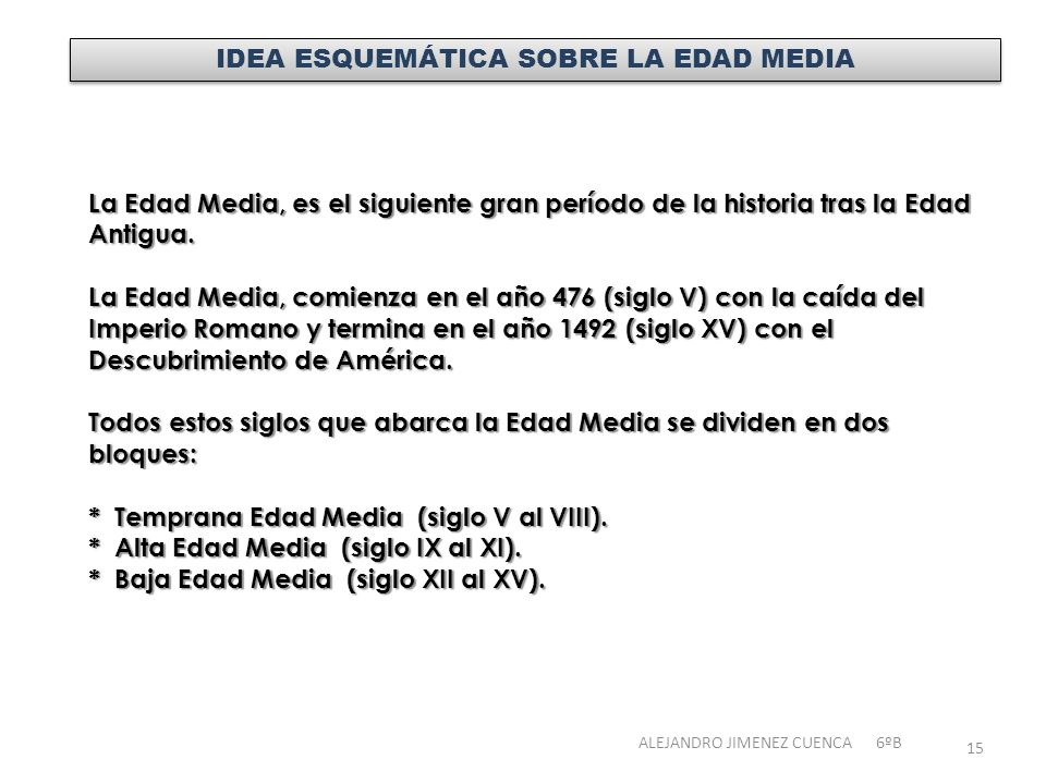 IDEA ESQUEMÁTICA SOBRE LA EDAD MEDIA