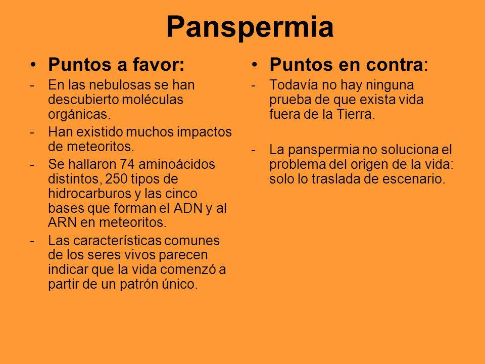 Panspermia Puntos a favor: Puntos en contra: