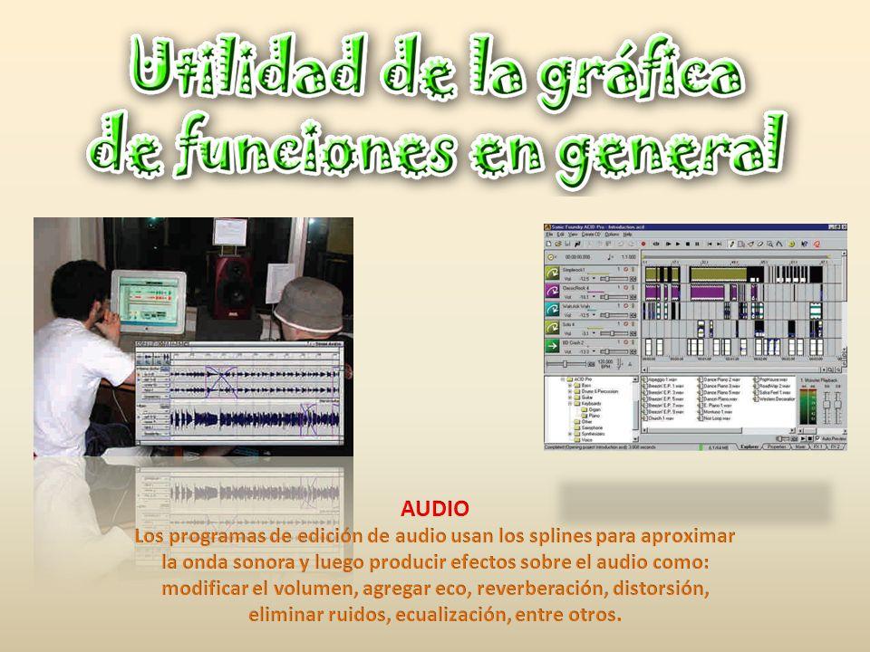 AUDIO Los programas de edición de audio usan los splines para aproximar. la onda sonora y luego producir efectos sobre el audio como: