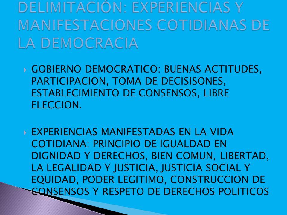 DELIMITACIÓN: EXPERIENCIAS Y MANIFESTACIONES COTIDIANAS DE LA DEMOCRACIA