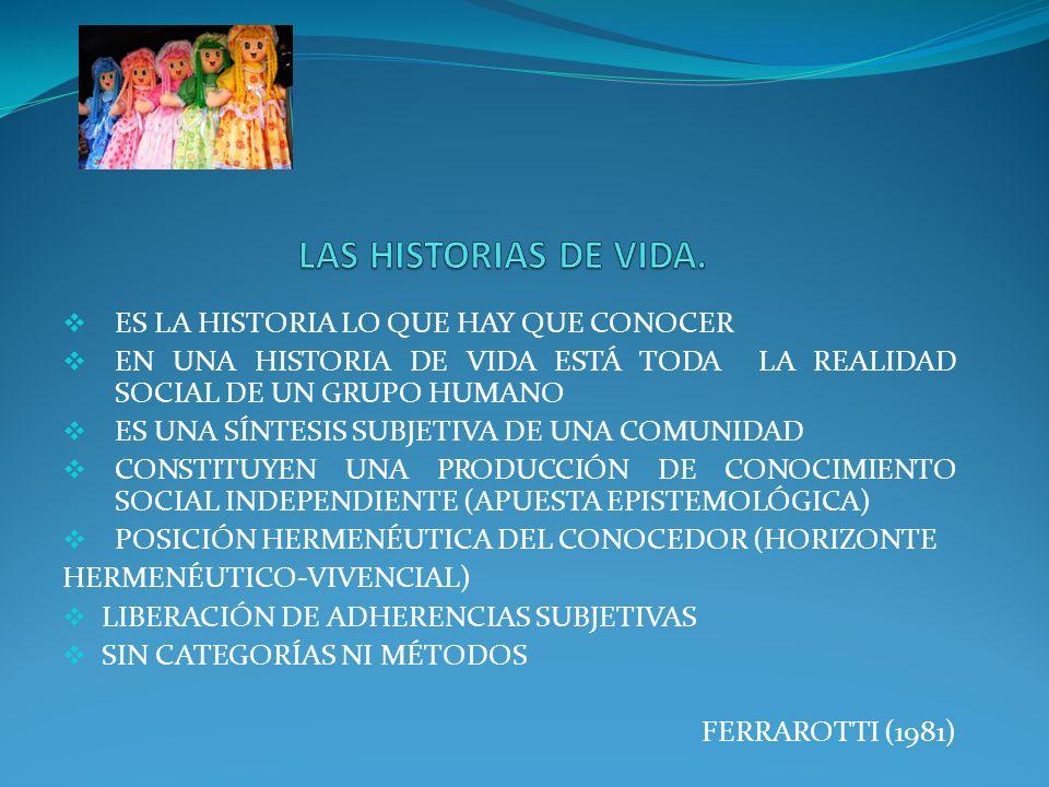 LAS HISTORIAS DE VIDA. ES LA HISTORIA LO QUE HAY QUE CONOCER