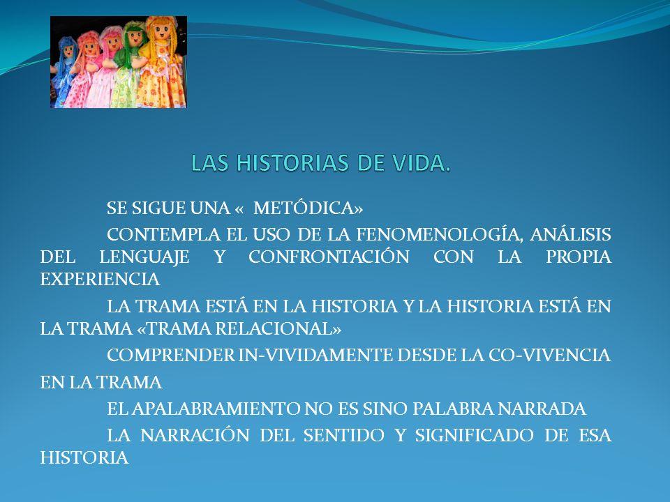 LAS HISTORIAS DE VIDA. SE SIGUE UNA « METÓDICA»