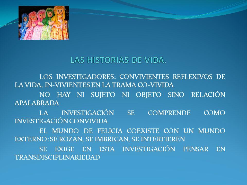 LAS HISTORIAS DE VIDA. LOS INVESTIGADORES: CONVIVIENTES REFLEXIVOS DE LA VIDA, IN-VIVIENTES EN LA TRAMA CO-VIVIDA.