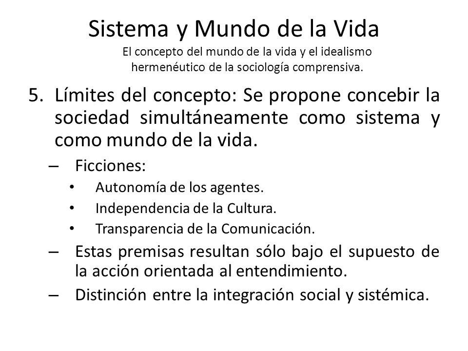 Sistema y Mundo de la Vida El concepto del mundo de la vida y el idealismo hermenéutico de la sociología comprensiva.