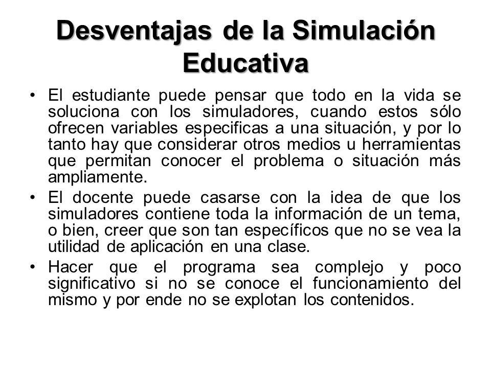 Desventajas de la Simulación Educativa