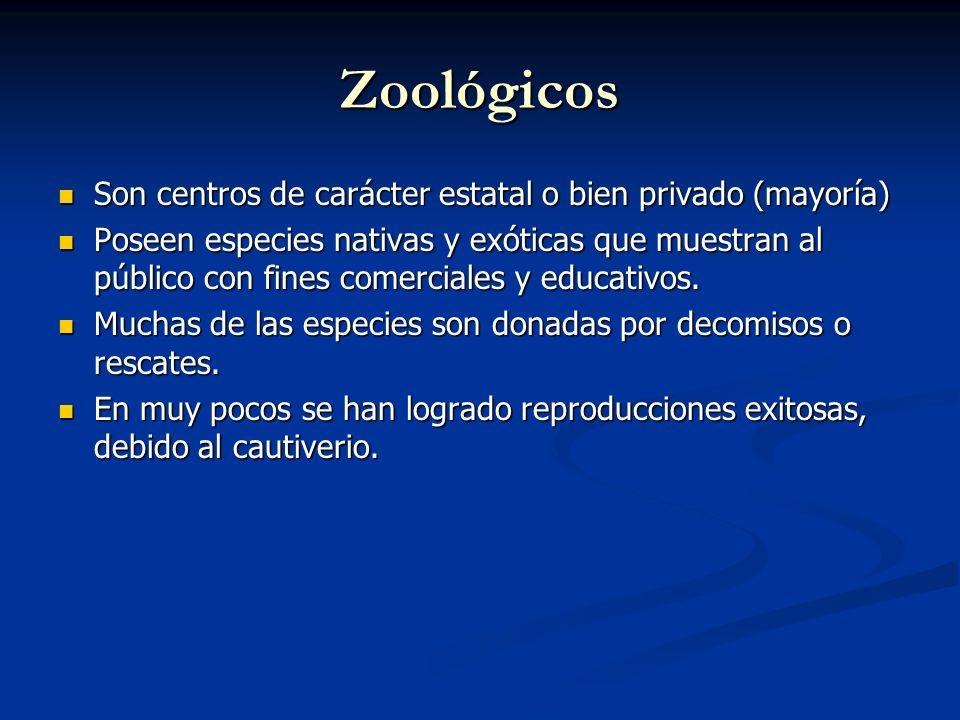 Zoológicos Son centros de carácter estatal o bien privado (mayoría)