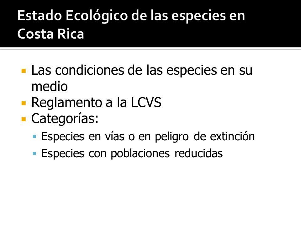 Estado Ecológico de las especies en Costa Rica