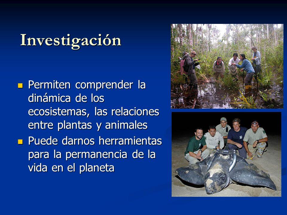 Investigación Permiten comprender la dinámica de los ecosistemas, las relaciones entre plantas y animales.
