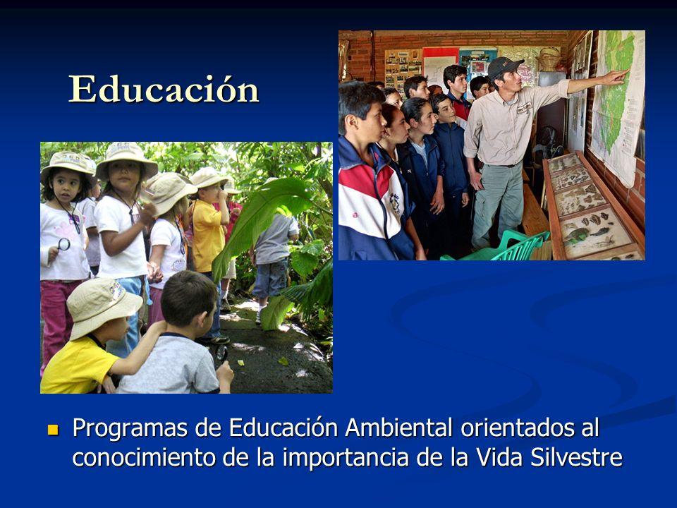 Educación Programas de Educación Ambiental orientados al conocimiento de la importancia de la Vida Silvestre.