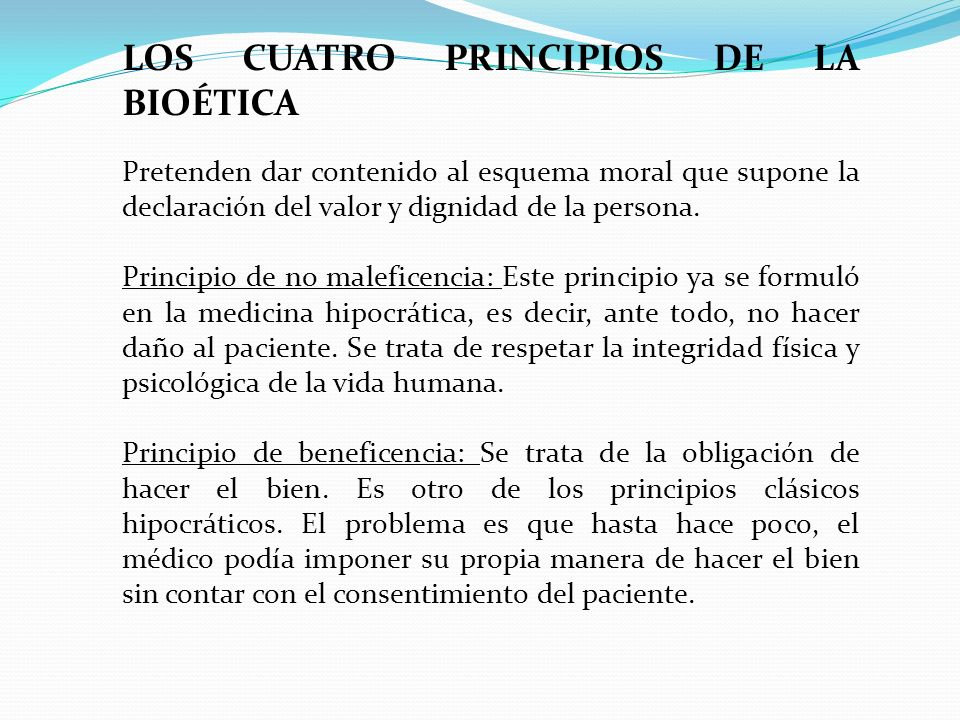 LOS CUATRO PRINCIPIOS DE LA BIOÉTICA