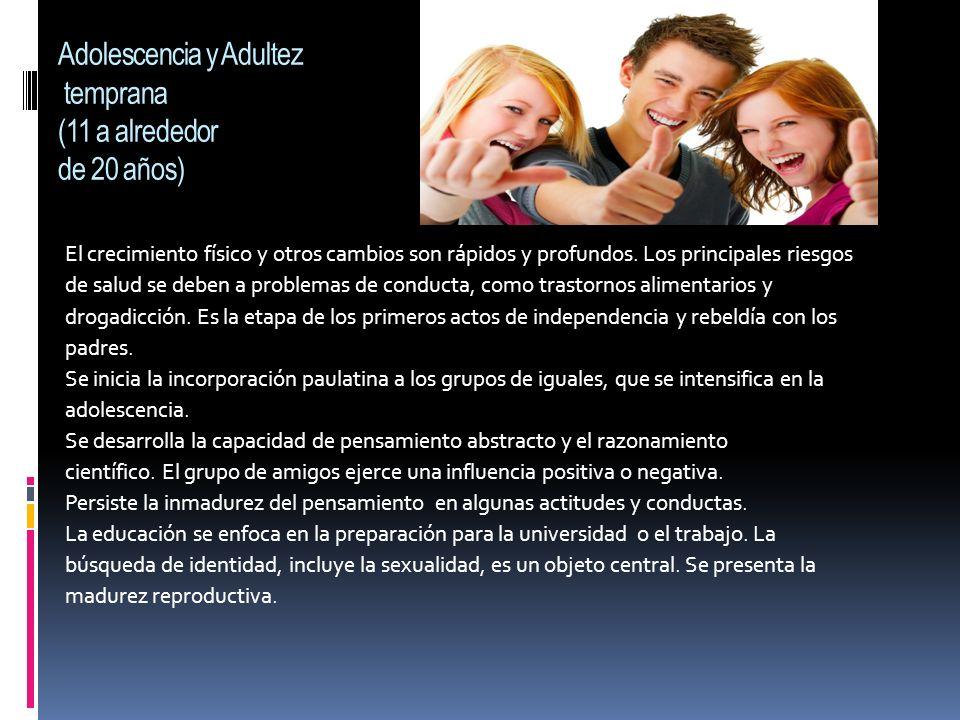 Adolescencia y Adultez temprana (11 a alrededor de 20 años)