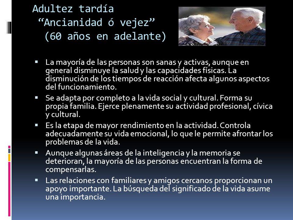 Adultez tardía Ancianidad ó vejez (60 años en adelante)