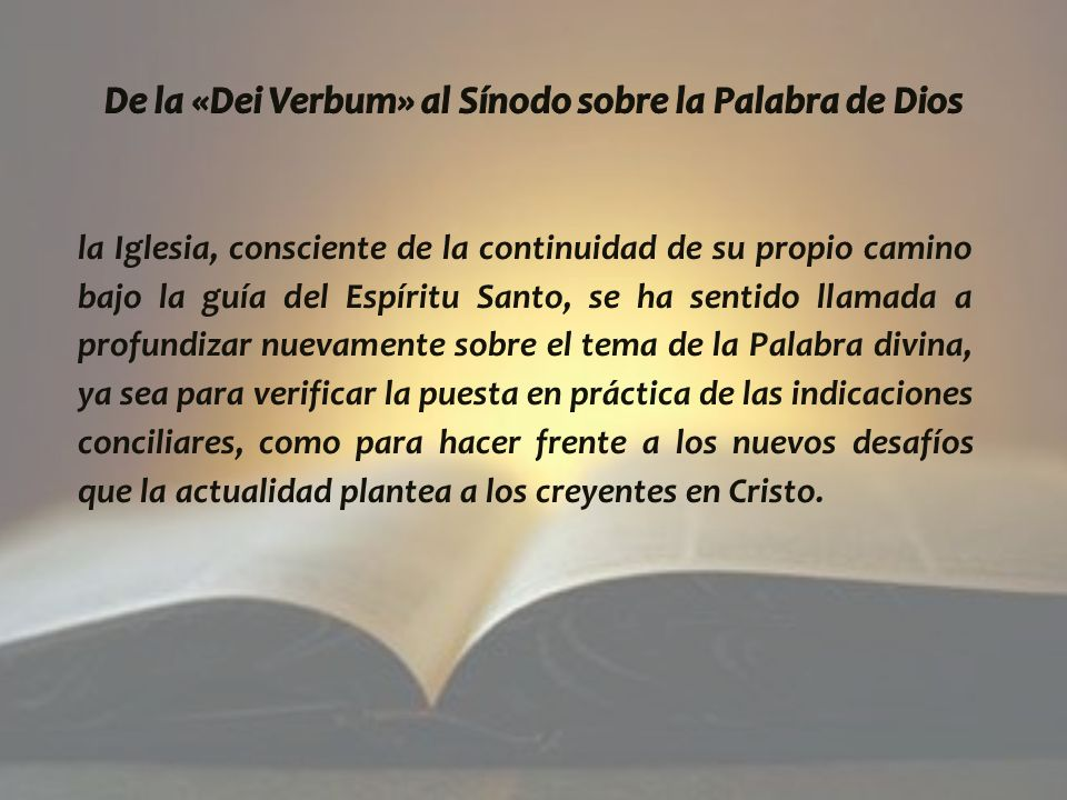 De la «Dei Verbum» al Sínodo sobre la Palabra de Dios