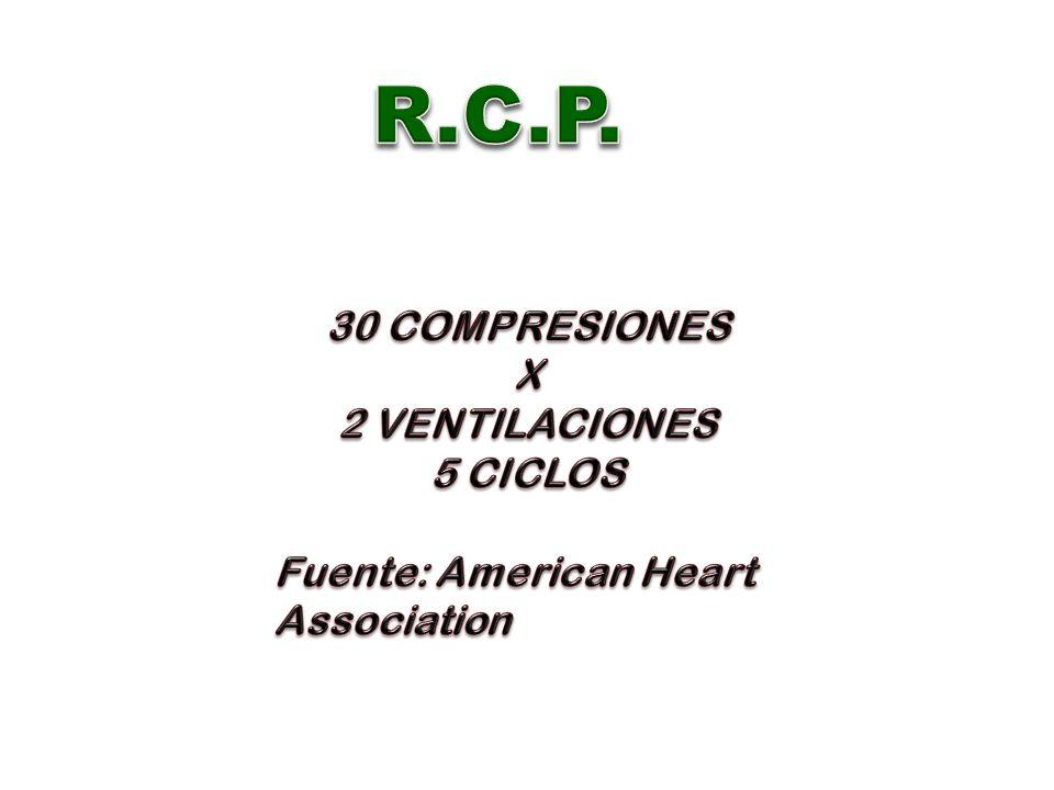 R.C.P. 30 COMPRESIONES X 2 VENTILACIONES 5 CICLOS