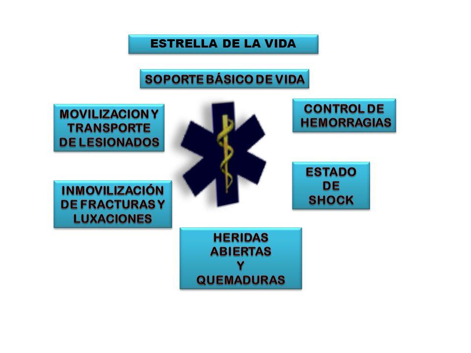 ESTRELLA DE LA VIDA SOPORTE BÁSICO DE VIDA. CONTROL DE. HEMORRAGIAS. MOVILIZACION Y. TRANSPORTE.