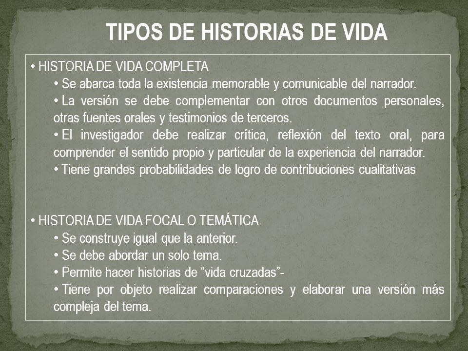 TIPOS DE HISTORIAS DE VIDA