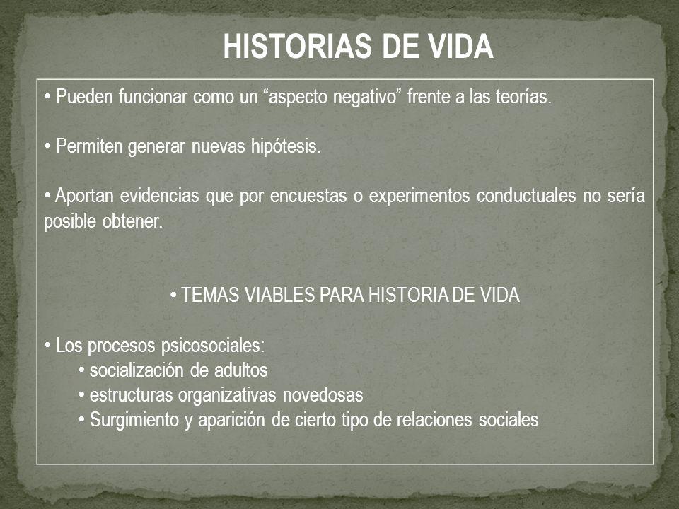 TEMAS VIABLES PARA HISTORIA DE VIDA