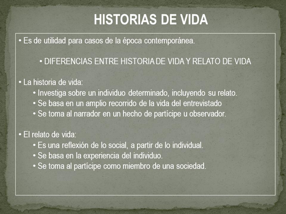 DIFERENCIAS ENTRE HISTORIA DE VIDA Y RELATO DE VIDA