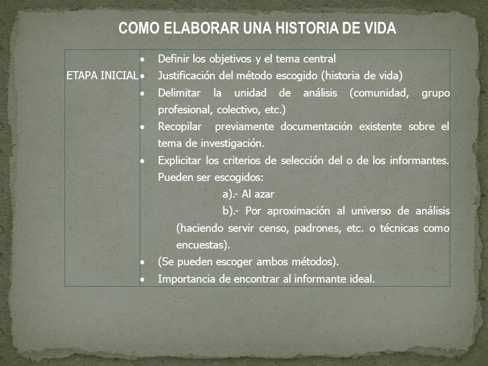 COMO ELABORAR UNA HISTORIA DE VIDA