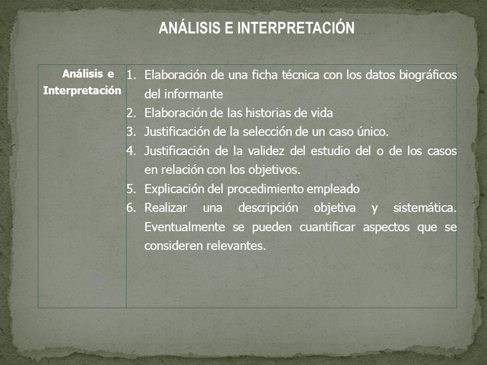 ANÁLISIS E INTERPRETACIÓN Análisis e Interpretación