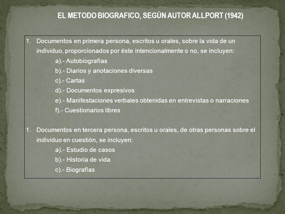 EL METODO BIOGRAFICO, SEGÚN AUTOR ALLPORT (1942)