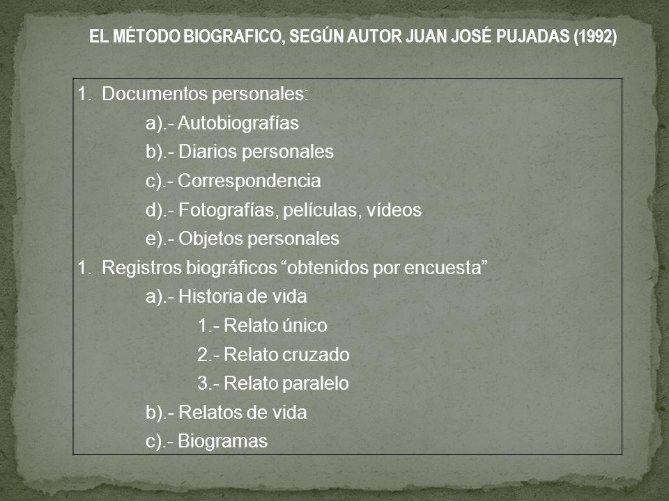 EL MÉTODO BIOGRAFICO, SEGÚN AUTOR JUAN JOSÉ PUJADAS (1992)