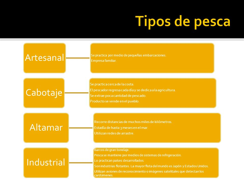 Tipos de pesca Artesanal Cabotaje Altamar Industrial
