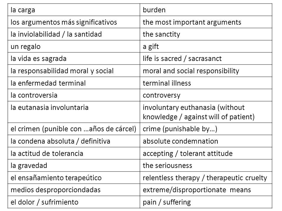 la carga burden. los argumentos más significativos. the most important arguments. la inviolabilidad / la santidad.